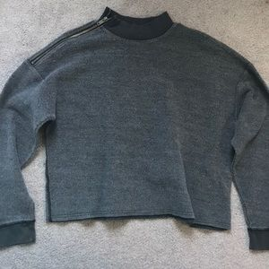 Cropped mock neck sweater